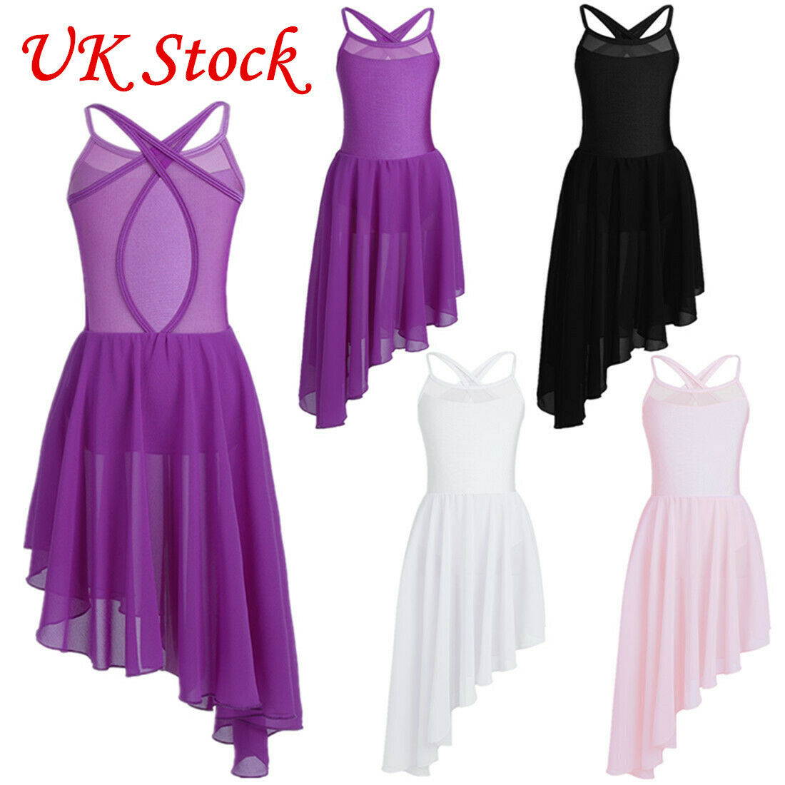 UK! Girls Lyrical Ballet Dance Dress Racer back Leotard Pleated Skirt Dancewear