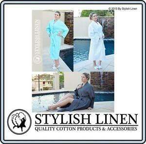 Bathrobe-100-Cotton-Waffle-Bath-Robe-New-Adult-DressingGown-White-Aqua-Charcoal