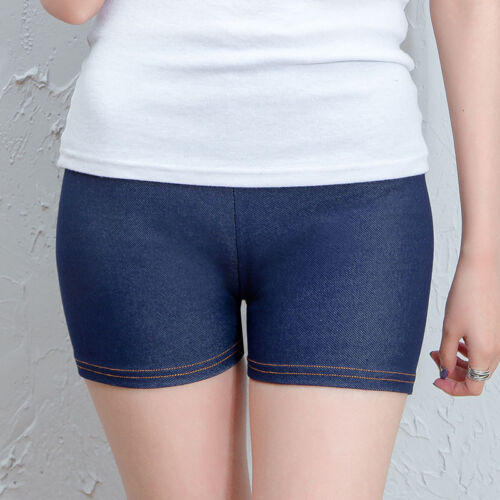 Ladies Skin Tight Flexible Denim Look Shorts Hot Panties Underwear Boxer Briefs