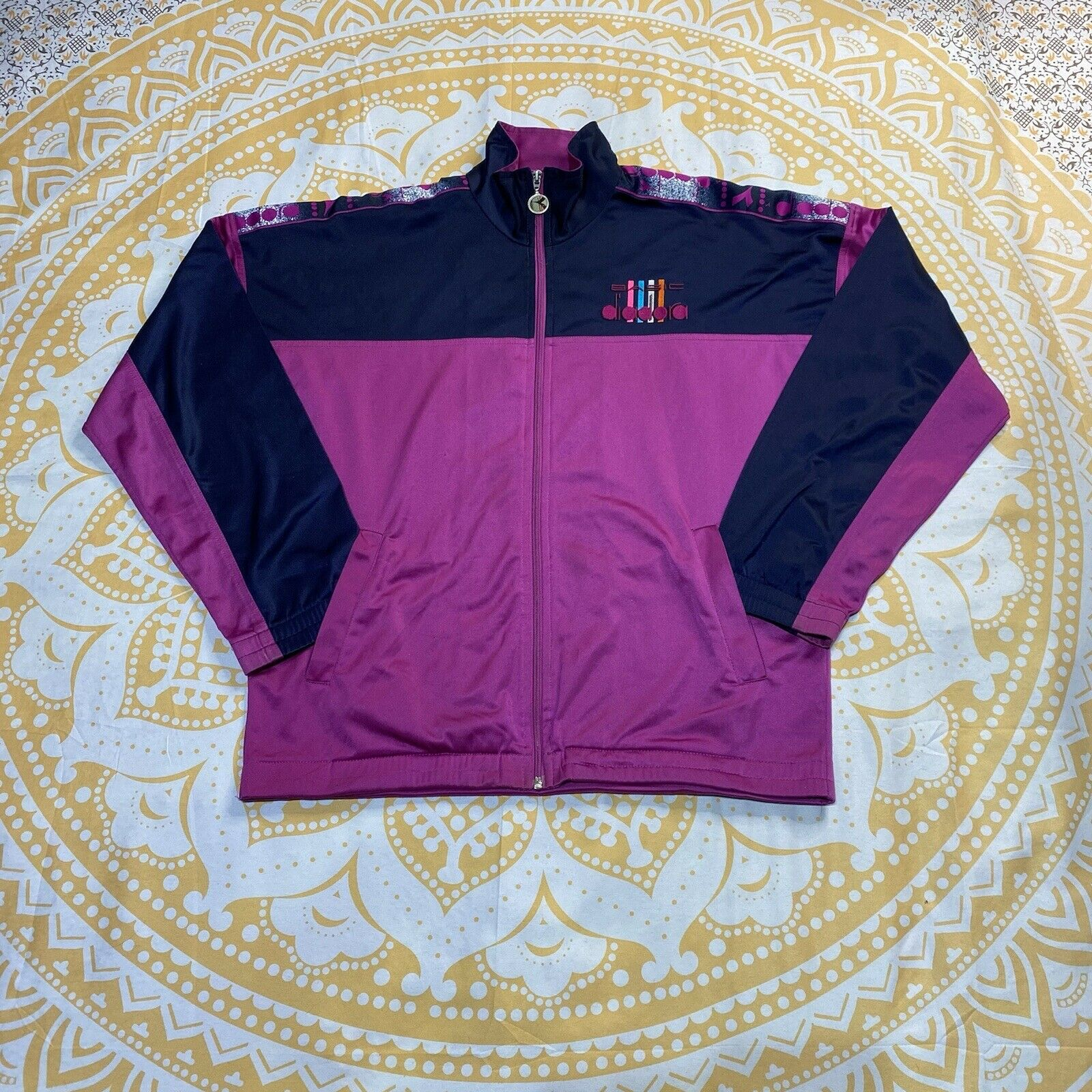 Purple/Navy Blue Diadora Bando Retro Vintage Full Zip Tracksuit Jacket