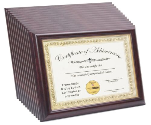12 Pack 8.5x11 Mahogany W Gold Inlay Certificate Frame W Stand and Wall Hanger
