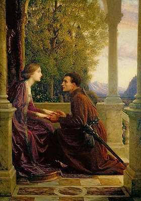 """Beautiful oil painting prince with nice young girl in dusk landscape canvas 36"""""""