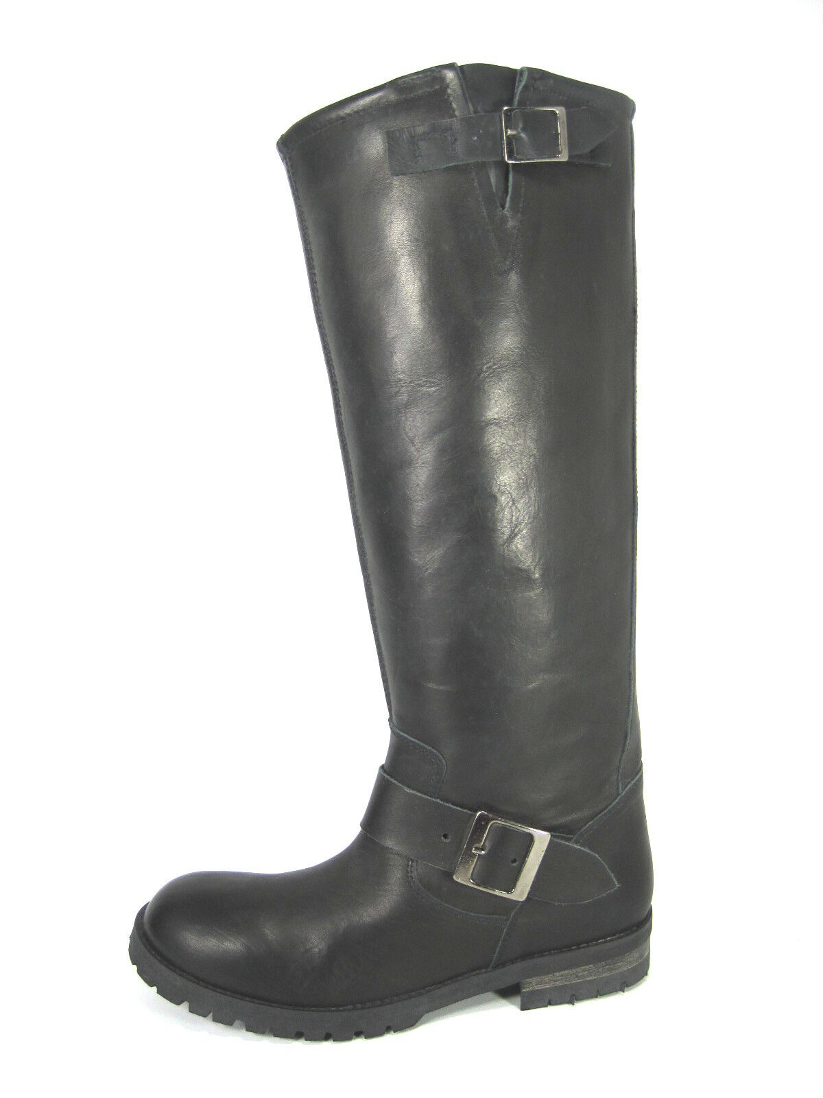 zapatos Diem bota Wmn's 13991 knee-high bota Diem de moto wshd Blk Lthr Eur 37 nos Talle 7 M 3c68fd