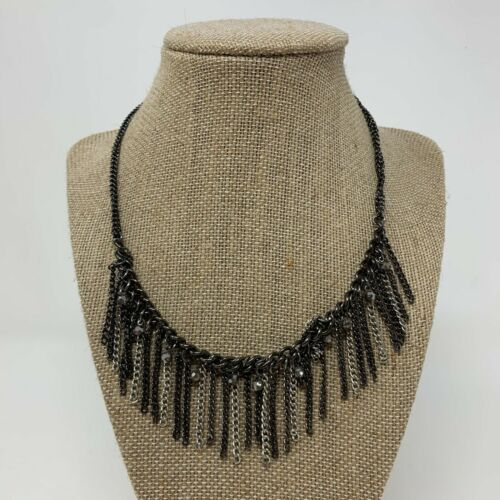 Red /& Black Y Fringe Statement Necklace Gunmetal Chain Nickel Free Tassel Necklace Unique One of a Kind Gothic Jewelry Lead Free
