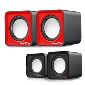 Haut-parleurs-d-039-ordinateur-enceinte-6W-USB-rouge-ou-noire-Audiocore-AC870
