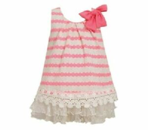 Bonnie Jean Girls Neon Pink Knit Lace Spring Summer Casual Beach Dress 24M 3T
