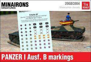 Minairons 1:72 Panzer I ausf. B markings - 20mm Spanish Civil War, WWII, VBCW