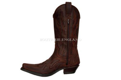 M Rock Flame Brown Boot b Leather Devil Plain New Goth 7921 Boots Biker 5dxw5q