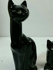 2 MID CENTURY POTTERY CERAMIC ART DECO Style CATS  CLEAR GLASS EYES