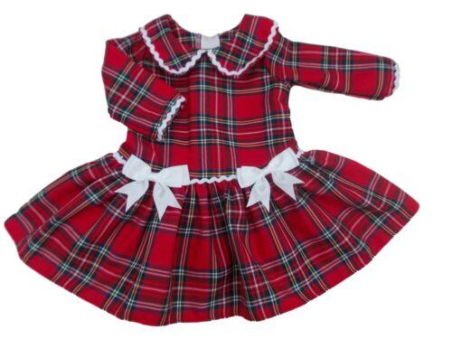 NUOVO CON ETICHETTA baby ragazze Bambino Festa Di Natale Abito in Tartan comprese con Fiocchi Bianco Made in UK