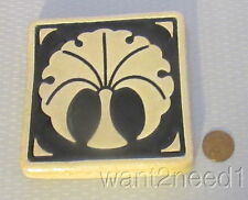 "Detroit Pottery PEWABIC FAN TREE TILE 4"" arts & crafts style black/tan 2-color"