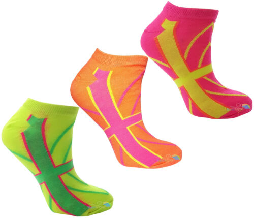 Donna Scarpe da ginnastica Calze Colori al Neon Diverse Fantasie Casual Da Donna Ragazze Uk 4-6 3PK