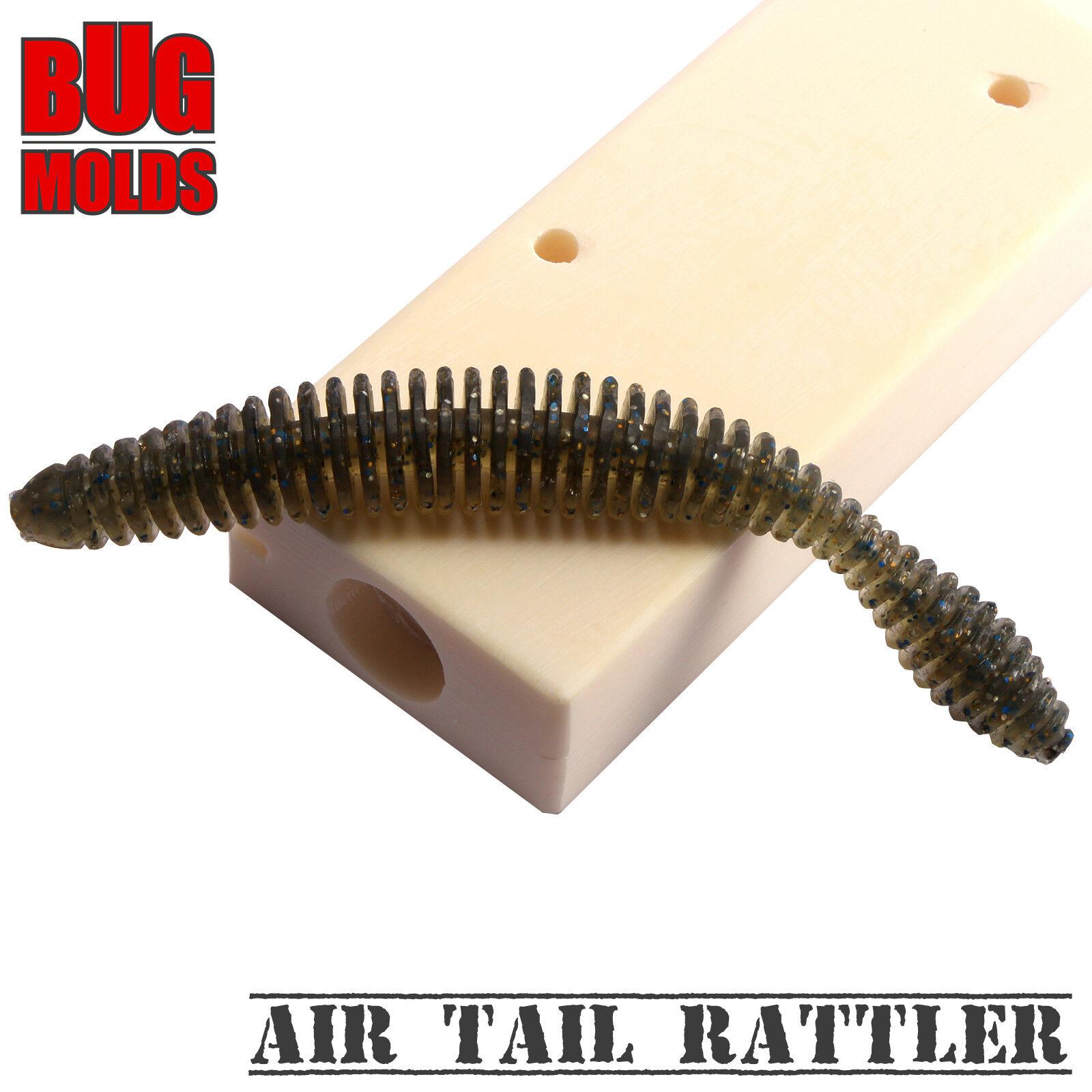Soft Plastic Lure Bait Mold DIY Air Tail Rattler Slug Worm Bugmolds