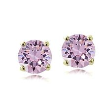 Swarovski Elements Alexandrite June Birthstone Stud Earrings in Gold Tone
