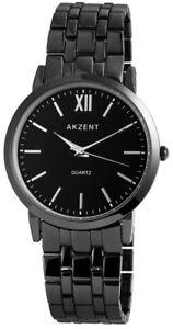 Akzent-Herrenuhr-Schwarz-Titan-Look-Analog-Metall-Armbanduhr-XSS8871000027