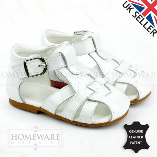 BABY BOYS SPIDER SANDALS SPANISH STYLE LEATHER PATENT CAMEL WHITE SKY NAVY 2-8.5