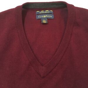 Club-Room-Estate-Merino-Wool-V-Neck-Sweater-Men-039-s-Large-Burgundy-GUC