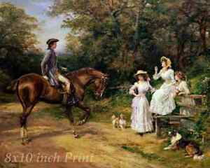 Meeting at the Stile by Heywood Hardy Man Women Horse Dogs 8x10 Print 2367