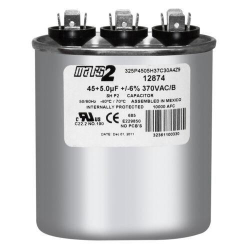 5 uf MFD 370 VAC Oval Dual Capacitor 12874 Replaces C3455L 97F9859 97F9859B 45