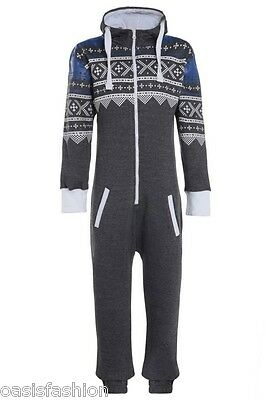 UNISEX MENS PLAIN &AZTEC PRINT ONESIE ZIP UP ALL IN ONE HOODED JUMPSUIT S to 4XL