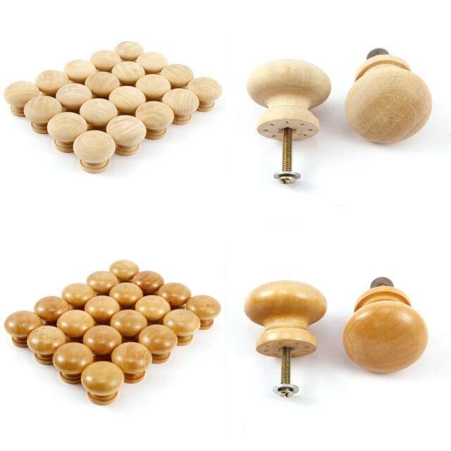 10//20X 32mm Round Wooden Cabinet Knobs Cupboard Drawer Wardrobe Door Handles