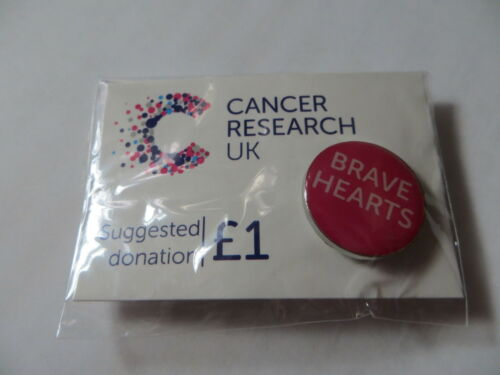 BRAVE HEARTS  SLOGAN Cancer Research UK Charity Pin Badge