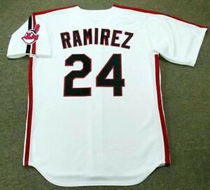 free shipping 40be6 5070b Details about MANNY RAMIREZ Cleveland Indians 1993 Majestic Throwback Home  Baseball Jersey