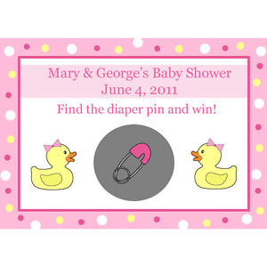 24 Personalized Baby Shower Scratch Off Game Cards Pink Rubber