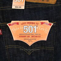 Levis 501 Jeans New Size 36 x 34 TIDAL BLUE ( Dark Blue ) Mens Button Fly #735