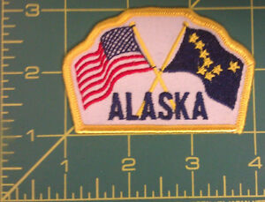 Embroidered-Alaska-Patch-USA-and-Alaska-Flag-crossed-New-amp-Unused