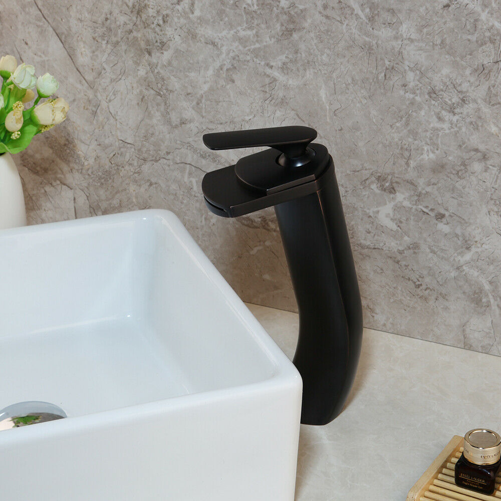 11   Tall bagno singola maniglia cascata lavandino rubinetto del bacino-finitura ORB