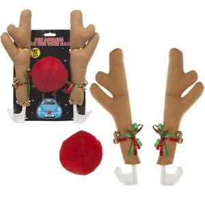 Car-Vehicle-Fun-Reindeer-Nose-Antlers-Set-Christmas-Gift-Sleigh-Bells-Xmas