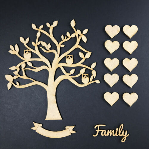 Word /& Banner Craft Blank OWL  KIT MDF Wooden Family Tree Set with Hearts
