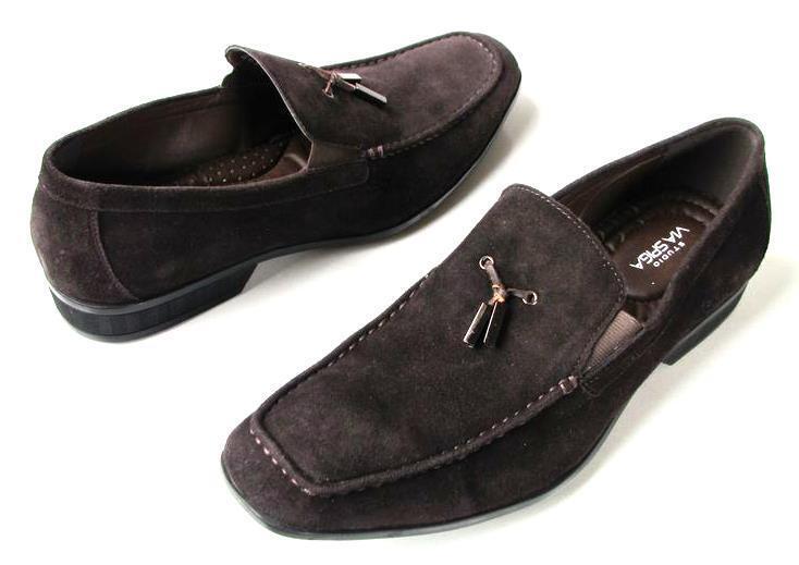 Nuevo Para hombres VIA SPIGA Marrón Oscuro Zapatos De Gamuza Mocasines 8-muy suave y cómodo