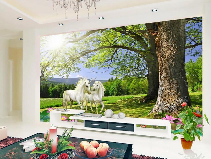 3D Unicorn Tree 5136 WandPapier Murals Wand Drucken WandPapier Mural AJ Wand UK Kyra