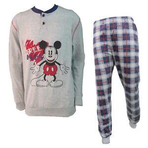 metà fuori 94f76 a1ffc Dettagli su Disney pigiama uomo lungo in cotone jersey topolino/paperino  art. WD14071/73