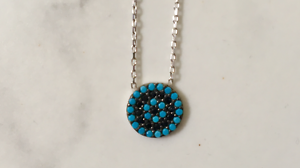 Sterling-Silver-CZ-Crystal-Evil-Eye-Turquoise-Mati-Nazar-Necklace-Cubic-Zirconia