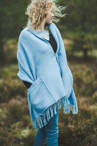 Shawl Wrap Large Pockets Knit Women Fringe Knitted Poncho Cardigan Cape Green