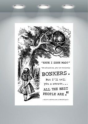 You/'re bonkers Alice in Wonderland quote poster art print A2 /& A3 available