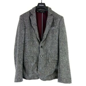 DSQUARED-2-D2-Men-039-s-Tweed-Jacket-Jacket-Size-48-Grey-Wool-Warm-NP-999-NEW