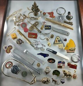 Antique-Estate-Lot-Gold-Filled-Watch-Fob-Pins-Makeup-Misc-Junk-Drawer-Collection