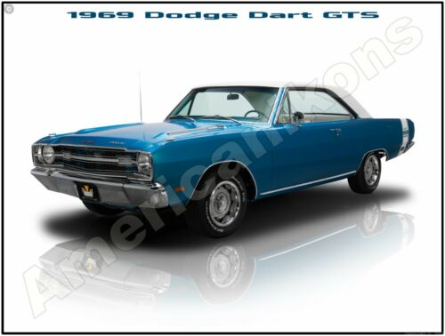 Pristine Restoration 1969 Dodge Dart GTS in Blue New Metal Sign