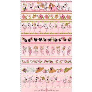 Loralie-Flamingo-Fancy-Border-Stripe-Lady-Flower-Pink-Cotton-Fabric-By-The-Yard