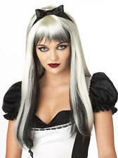DARK ALICE Halloween Nero / Bianco Favola Adulto Costume Donna Costume Parrucca