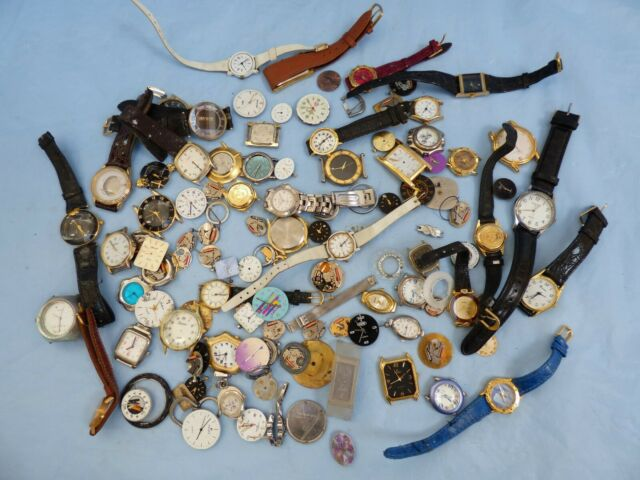 BUNDLE Job Lot 919 gr Various Vintage Wrist Watch Dials Arts Jewellery Project