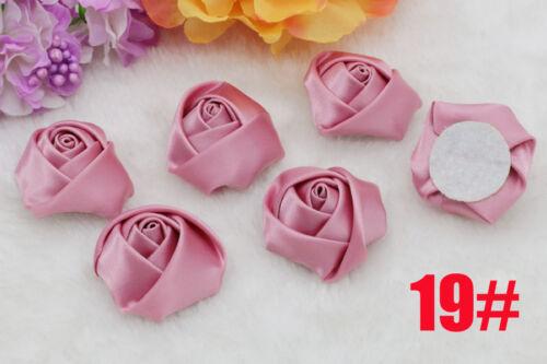 20PCS Handmade Stéréo Tissu Rose Fleurs Satin Rubans Rose Appliques 40 mm