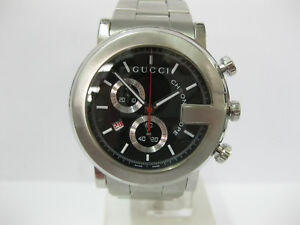 d4a5faf5641 Image is loading Gents-Gucci-Watch-Stainless-Steel-Black-Dial-Chronograph-