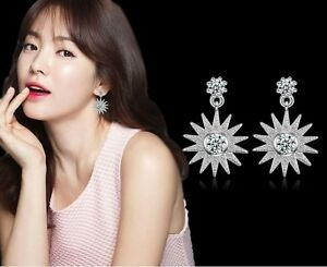 Silver-Front-Back-2-in-1-Cubic-Zirconia-CZ-Sun-Flower-Stud-Earrings-Gift-Box-S6