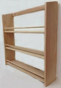 Solid-OAK-Wood-EXTRA-DEEP-Spice-Rack-20-5-034-Hx19-75-034-W-x-4-75-034-D-Wall-Mountable