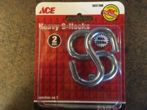 S Hooks 10 Pkgs of 2 Pc Zinc Plated 250 Lb Heavy Duty Steel 2 1//2 Inch Qty 20